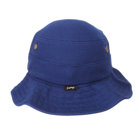 Kansas Coach Bucket(Low Profile) (KU) Royal Dark Action Grid Stretch Fit hats by Zephyr
