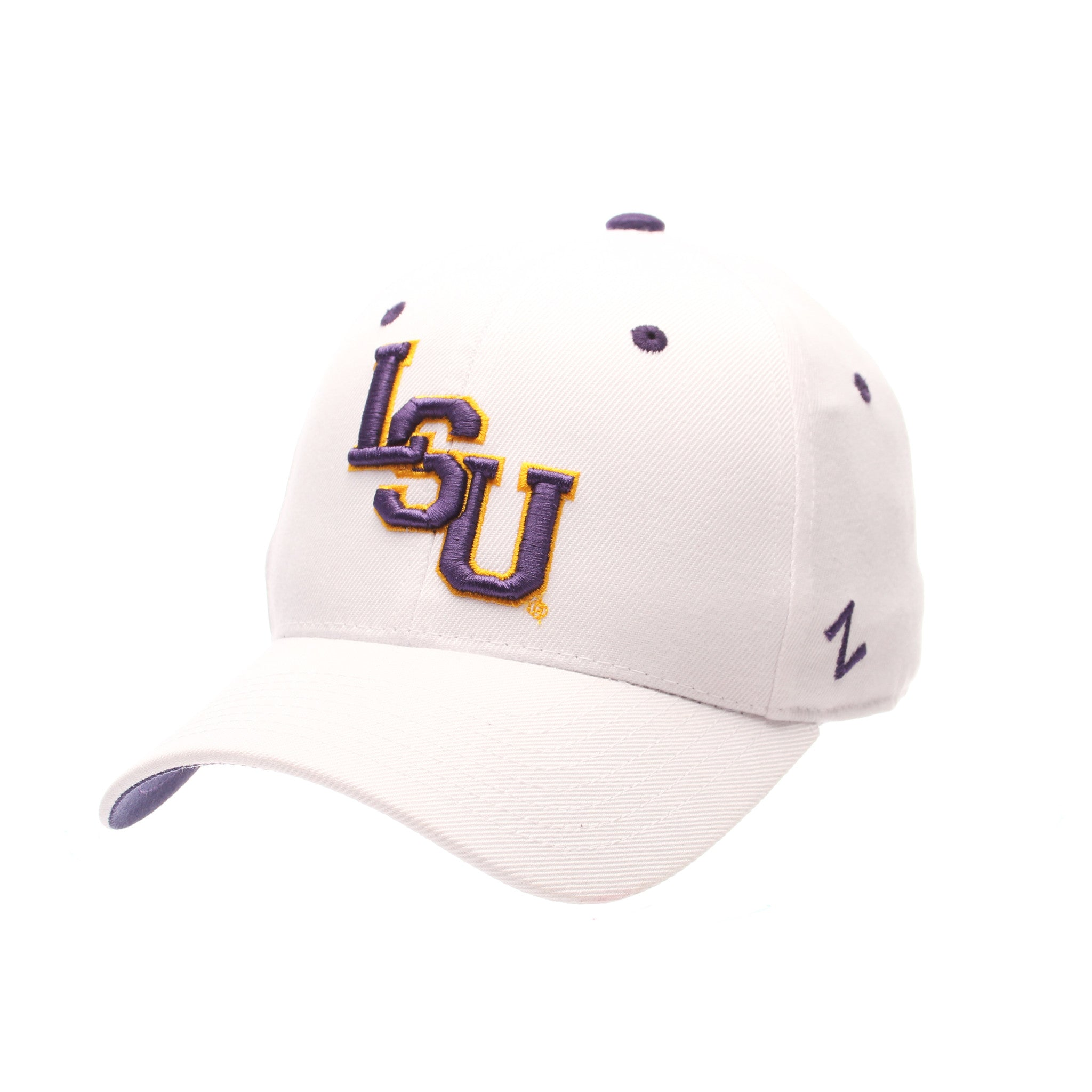Louisiana State University (LSU) DH Standard (Low) (LSU) White Zwool Fitted hats by Zephyr