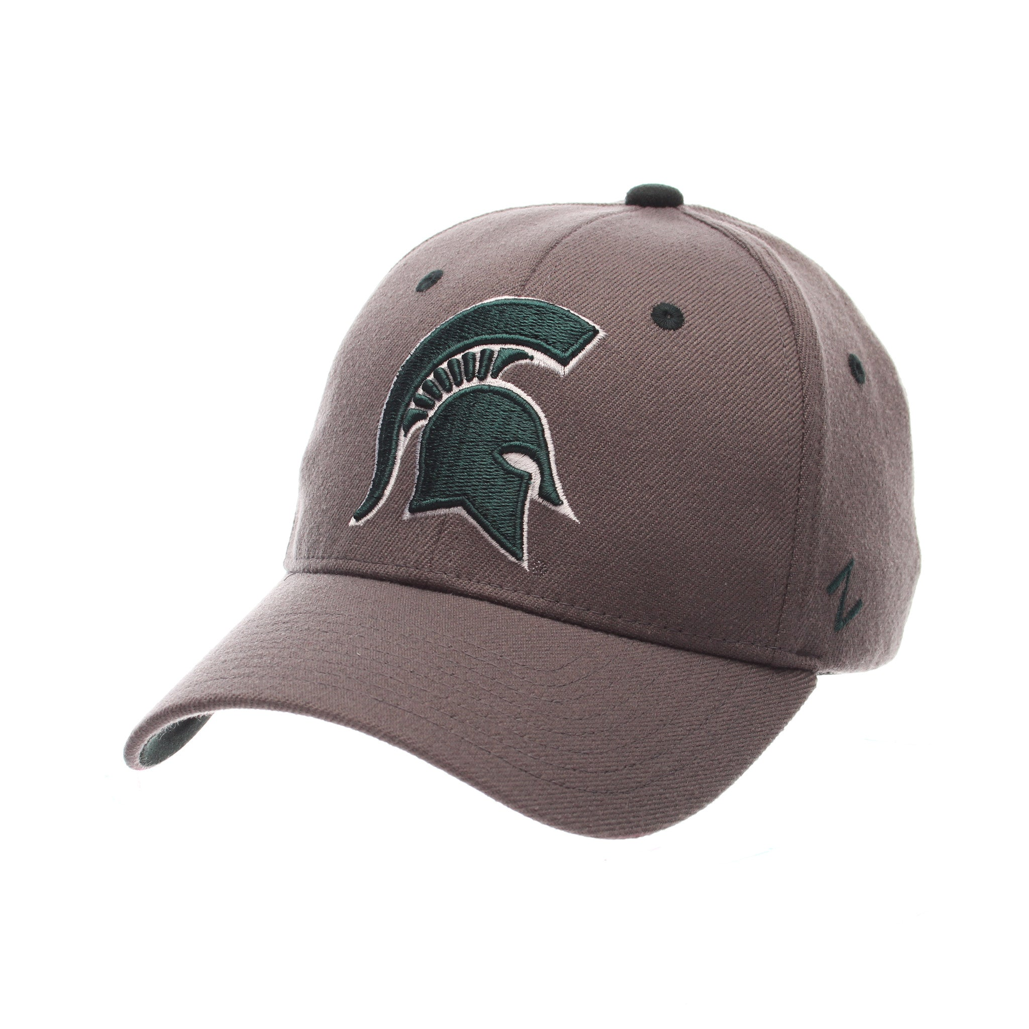 Michigan State University ZHS Standard (Low) (SPARTAN) Gray Medium Zwool Stretch Fit hats by Zephyr