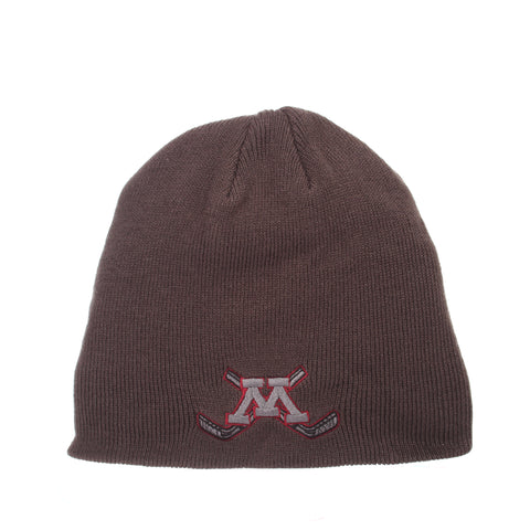 Minnesota (Minneapolis) Pop Knit Knit (Fold) (M W/HOCKEY STICKS) Gray Confederate Knit Adjustable hats by Zephyr