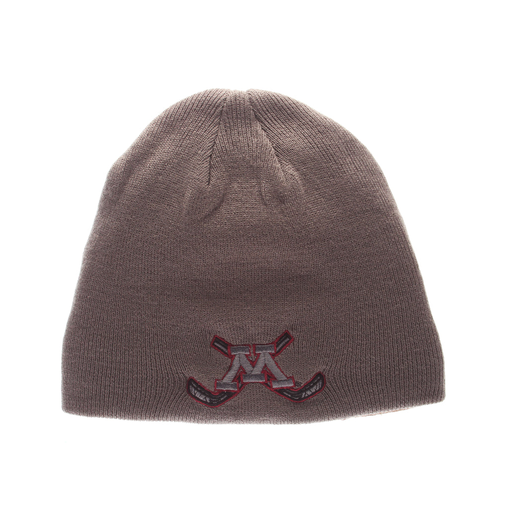 Minnesota (Minneapolis) Pop Knit Knit (Fold) (M W/HOCKEY STICKS) Gray Medium Knit Adjustable hats by Zephyr
