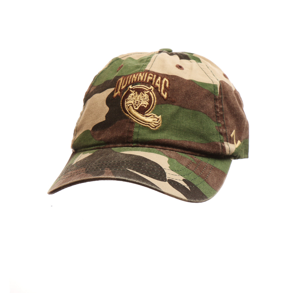 Quinnipiac University Custom Adj Standard (Low) (QUINNIPIAC/WILDCAT) Camo/Army Grn (Match Camo B) Washed Adjustable hats by Zephyr