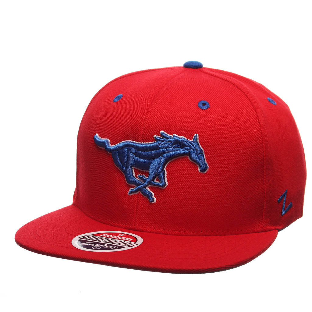Southern Methodist University Z11 32/5 (High) (MUSTANG) Scarlet Zwool Adjustable hats by Zephyr