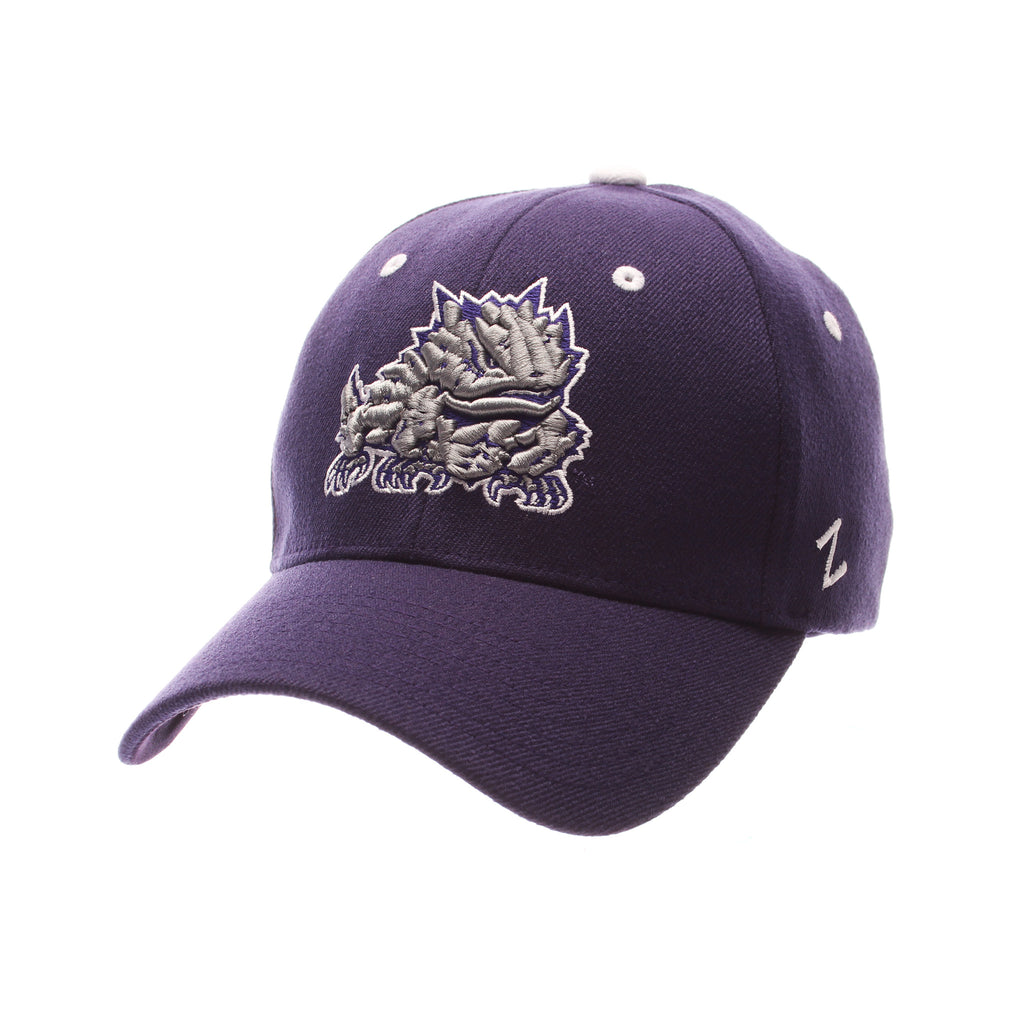Texas Christian University ZHS Standard (Low) (HORNED FROG) Purple Dark Zwool Stretch Fit hats by Zephyr