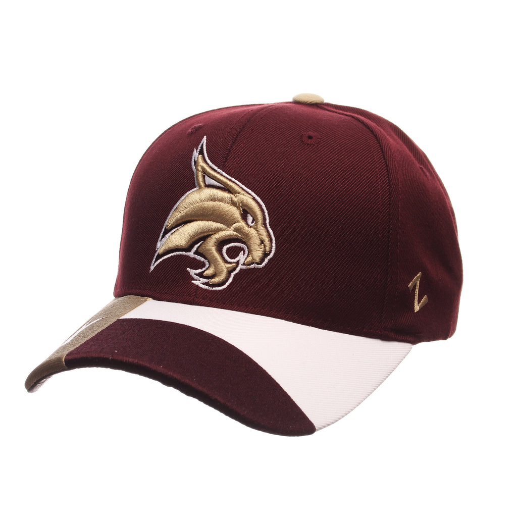 Texas State University Custom Adj Standard (Low) (BOBCAT) Maroon Zwool Adjustable hats by Zephyr