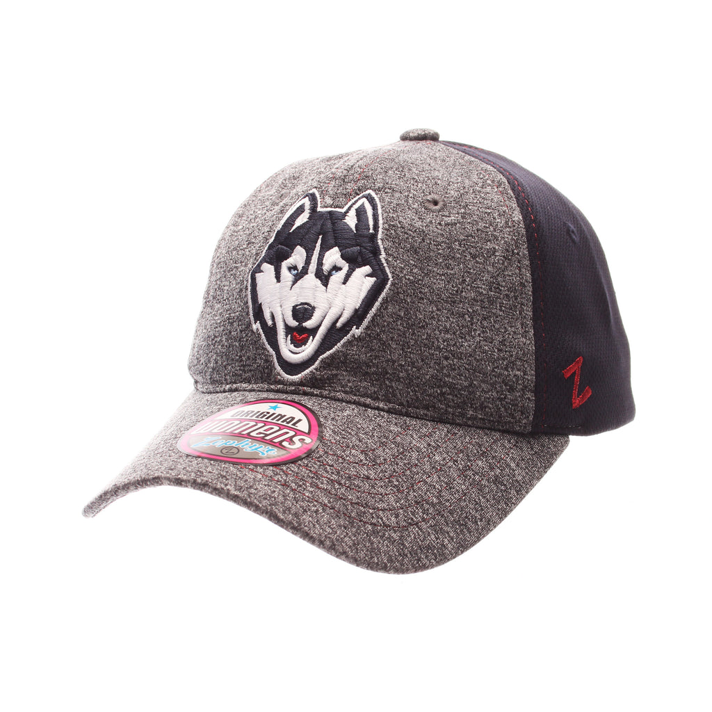Connecticut (UCONN) Harmony Womens Relaxed Structure (HUSKY) Heather Gray Polyester Zfit Adjustable hats by Zephyr