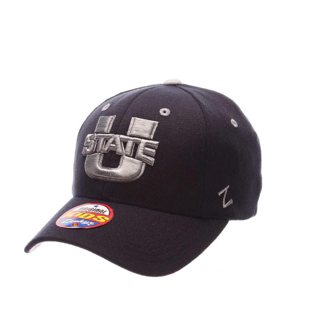 Utah State University ZH Youth Youth/Jr (U STATE) Navy Dark Zwool Stretch Fit hats by Zephyr