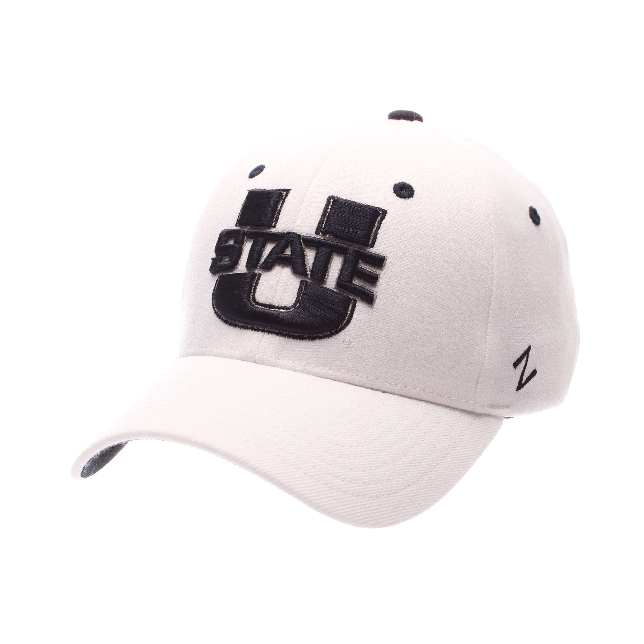 Utah State University ZH Standard (Low) (U STATE) White Zwool Stretch Fit hats by Zephyr