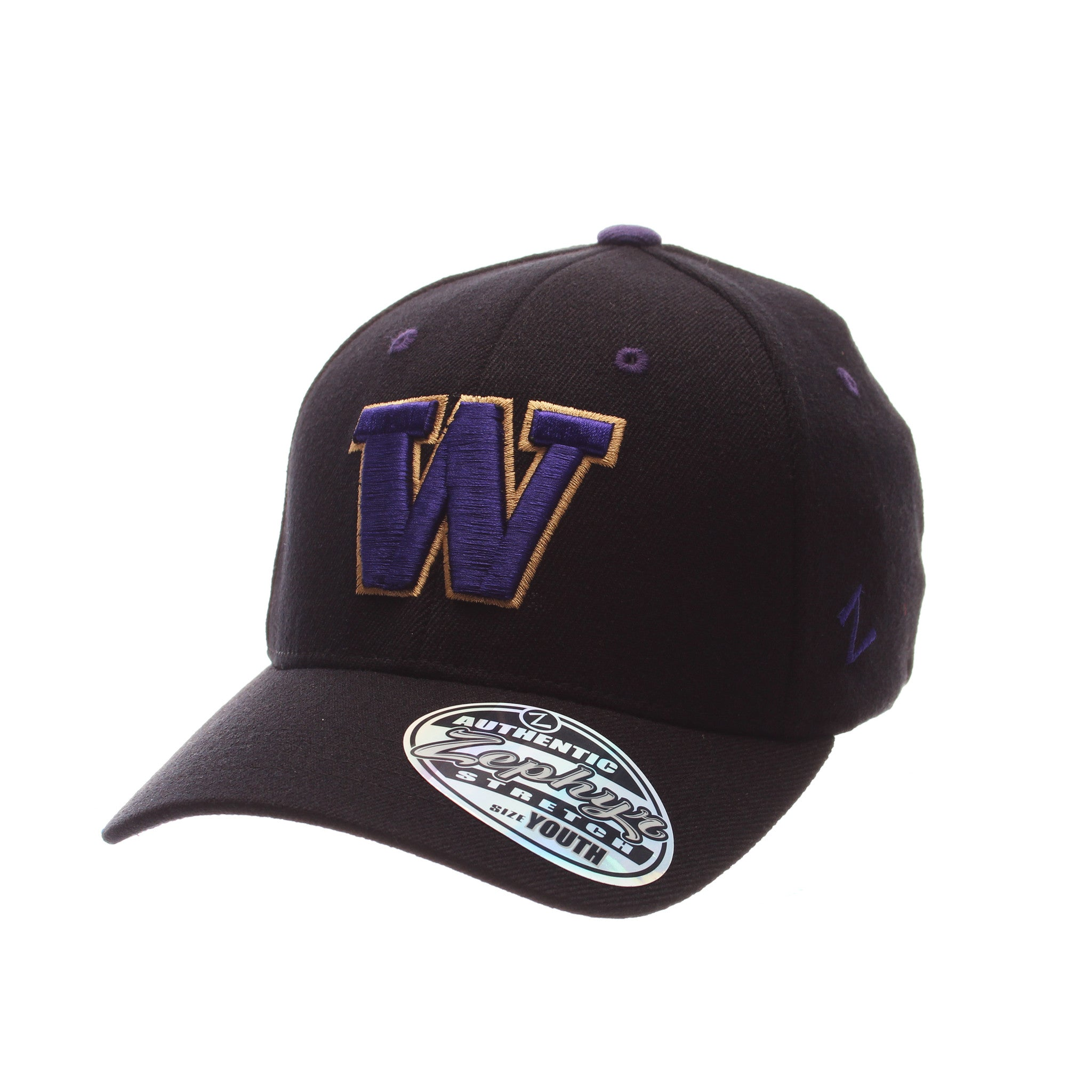 Washington ZH Youth/Jr - Ladies (W) Black Zwool Stretch Fit hats by Zephyr