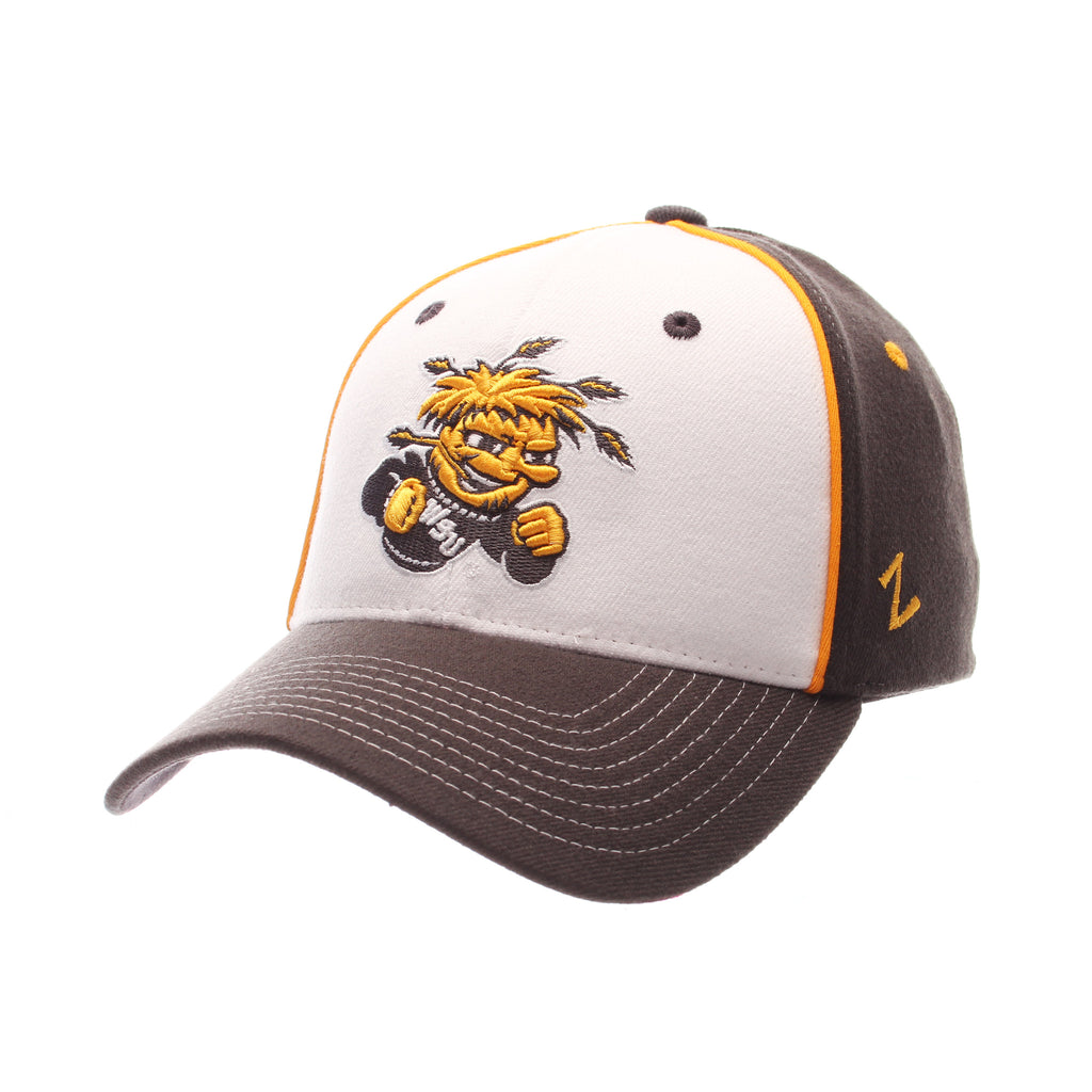 Wichita State University Custom Zfit Standard (Low) (SHOCKER) White Zwool Stretch Fit hats by Zephyr