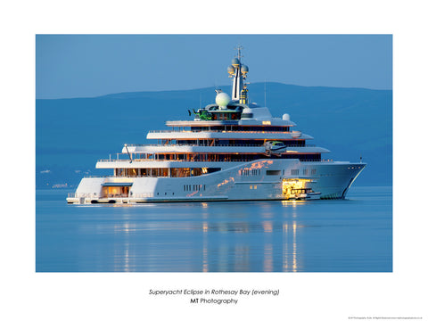 Superyacht Eclipse in Rothesay Bay (evening)