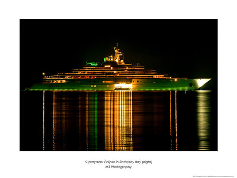 Superyacht Eclipse in Rothesay Bay (night)
