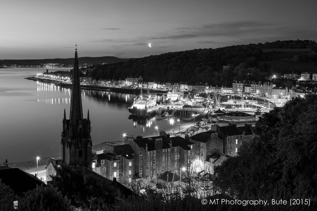 Rothesay by night with moon (mono)