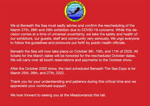 Notice: Beneath the Sea rescheduled