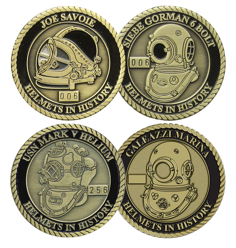 Complete Series Set # 1 Helmets in History Challenge Coin Set (4 Coins)