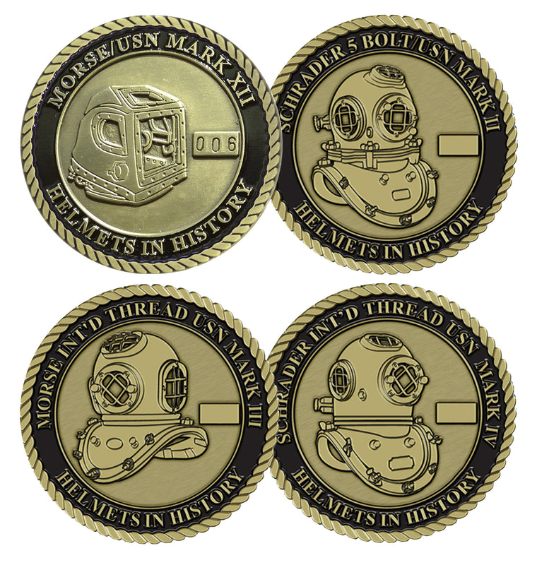Complete Series Set # 3 Helmets in History Challenge Coin Set (4 Coins)
