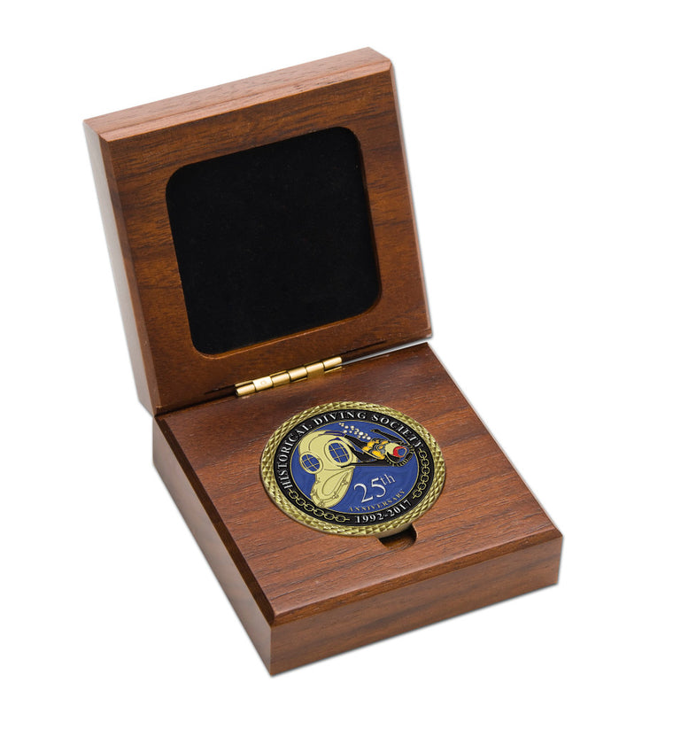 Custom Walnut Display Box for 1 Coin (Without Coin)