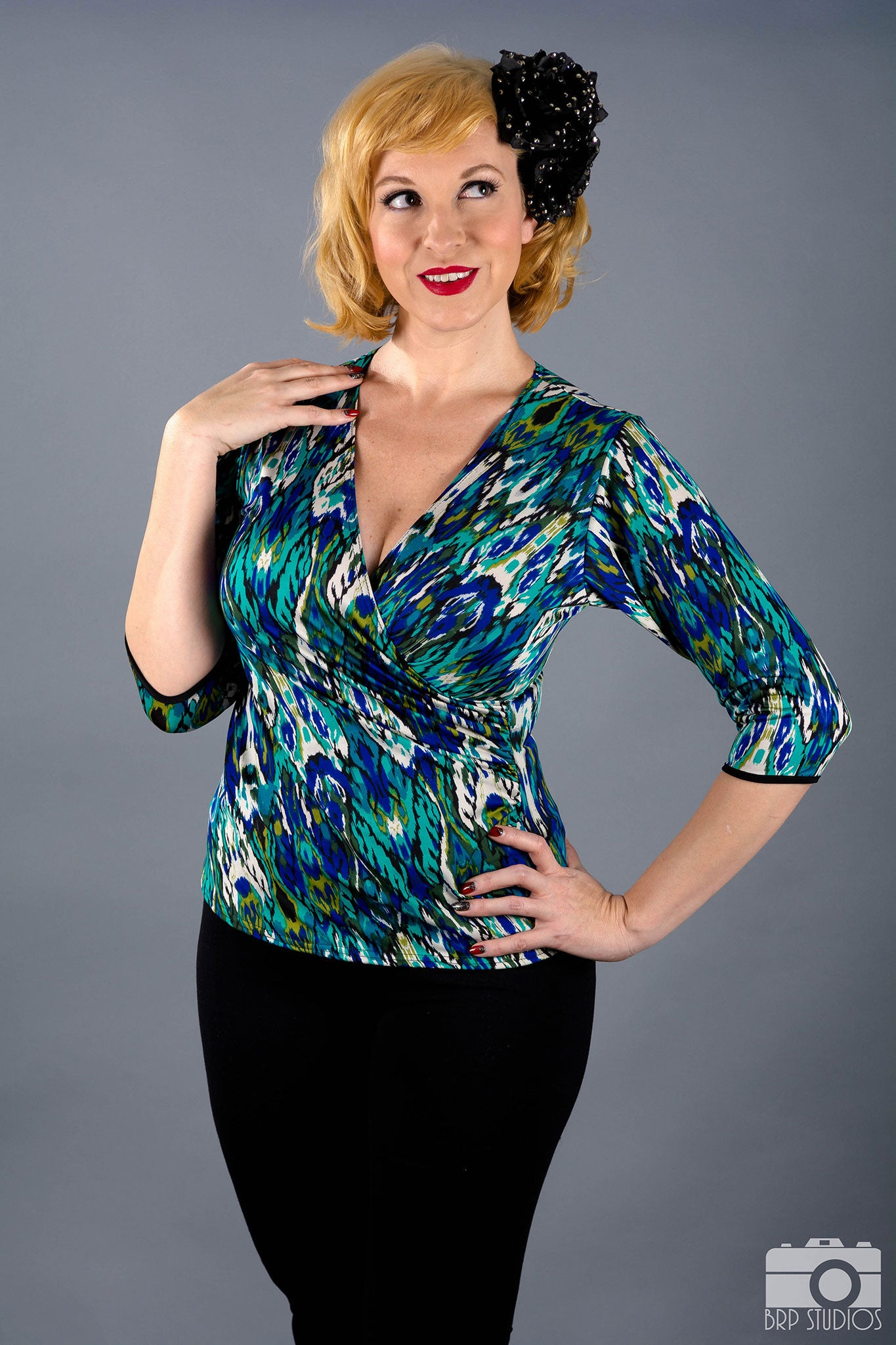 Style #T3 - Wrap Top With 3/4 Length Sleeves
