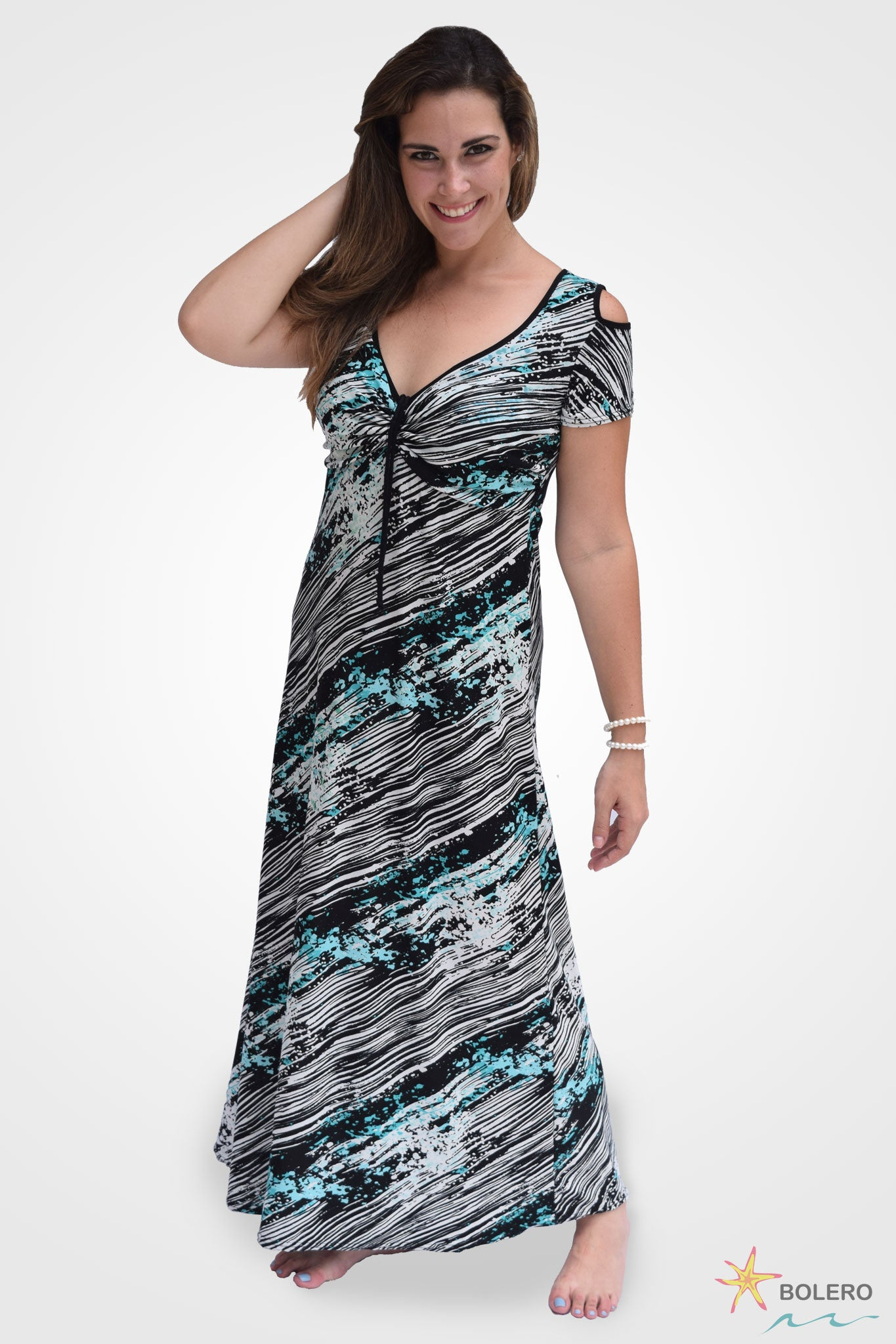 Style #L2 - Maxi Dress with Peek-A-Boo Sleeves DD+