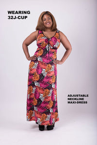 Adjustable Neckline Maxi Dress –DD Cup and Up