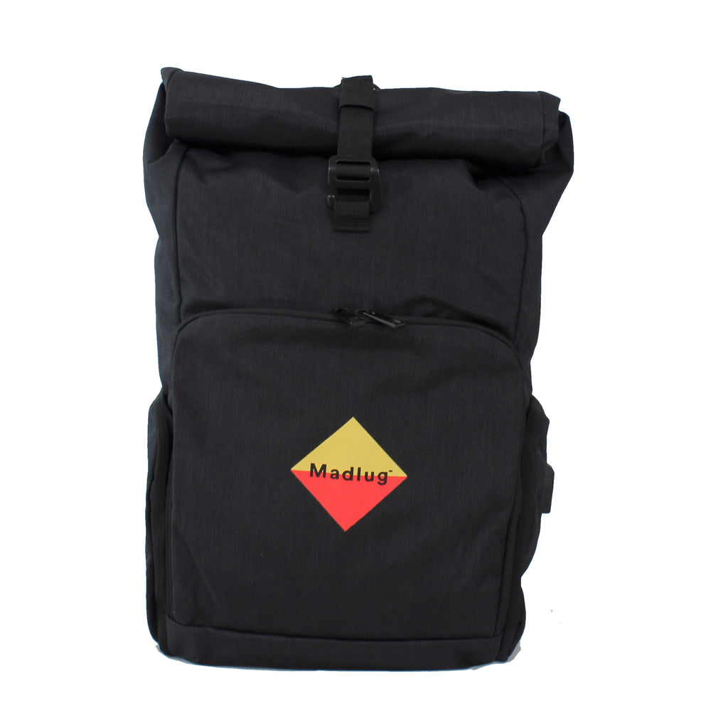Black Roll-Top Tech Backpack