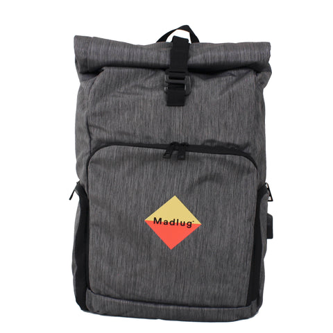 Grey Roll-Top Tech Backpack