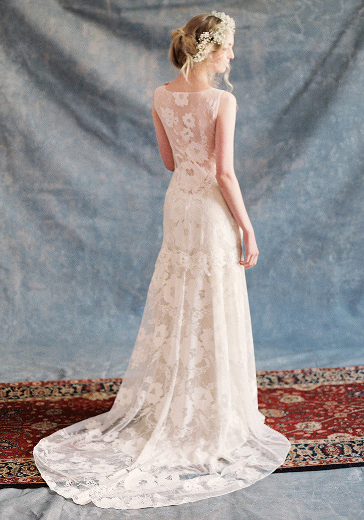 gardenia vintage lace wedding dress romantique by claire. Black Bedroom Furniture Sets. Home Design Ideas