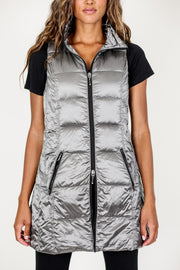 Long Metallic Down Vest