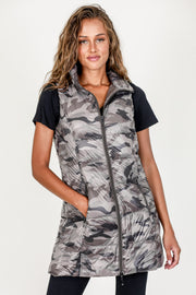 Long Printed Down Vest