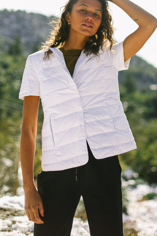Notch Collar Short Sleeve Jacket