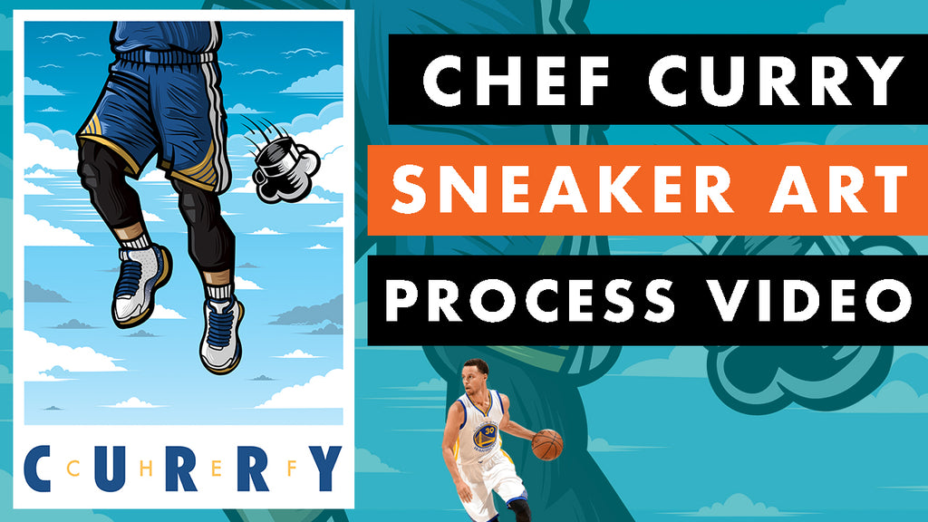 Chef Curry Sneaker Art Print Process Video