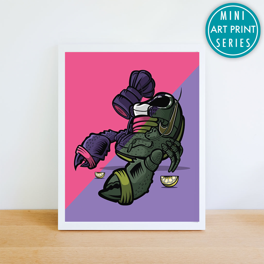 Purple Lobster Remix Giclee Art Print 8.5 x 11 - Anderson Bluu Sneaker Art