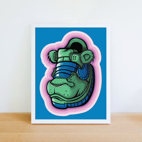 Green Grateful Bear Art Print 8.5 x 11 - Anderson Bluu Sneaker Art