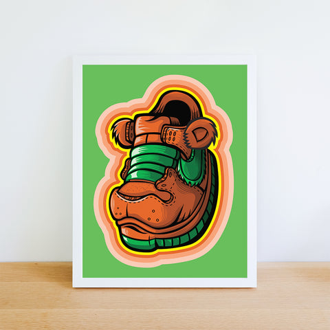 Orange Grateful Bear Art Print 8.5 x 11 - Anderson Bluu Sneaker Art