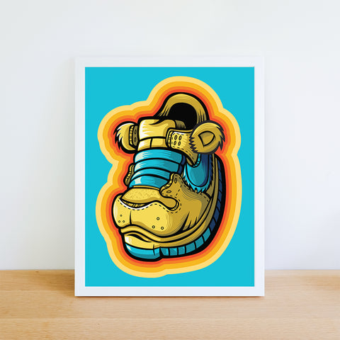 Yellow Grateful Bear Art Print 8.5 x 11 - Anderson Bluu Sneaker Art