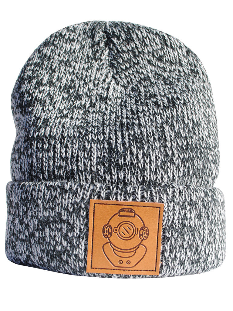 Leather Diver Black and White Beanie