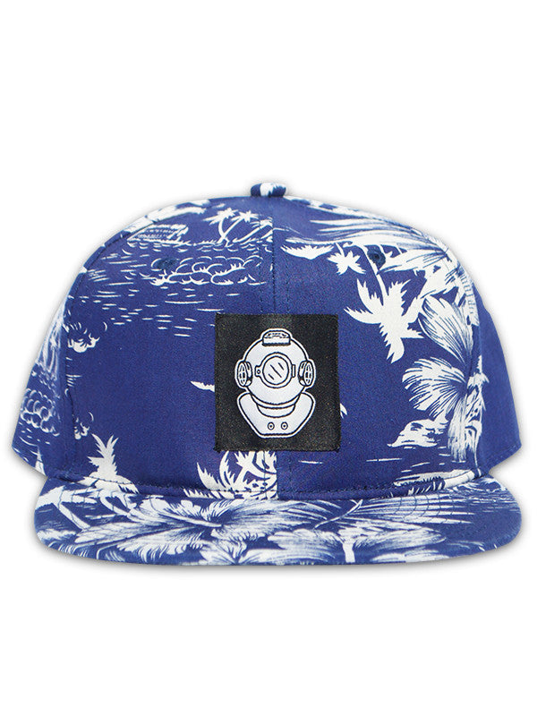 Midnight Bluu Waves and Palm Trees Diver Snapback