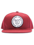 Burgundy Hang Loose Snapback Hat