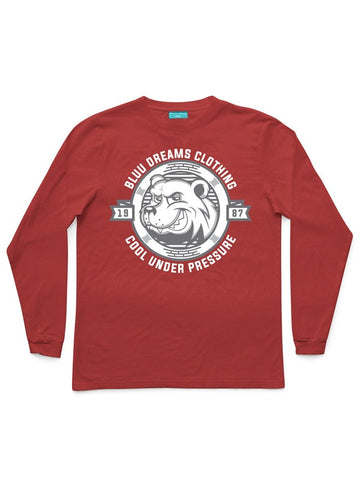COOL UNDER PRESSURE LONG SLEEVE CARDINAL RED