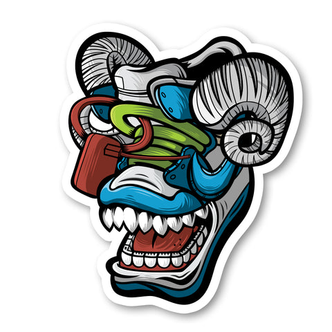 Off Bluu Ram 3 x 3 Sticker