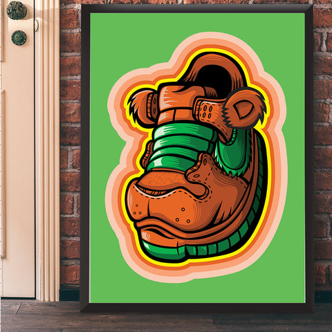 Orange Grateful Bear Art Print 17 x 22 - Anderson Bluu Sneaker Art