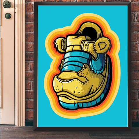 Yellow Grateful Bear Art Print 17 x 22 - Anderson Bluu Sneaker Art