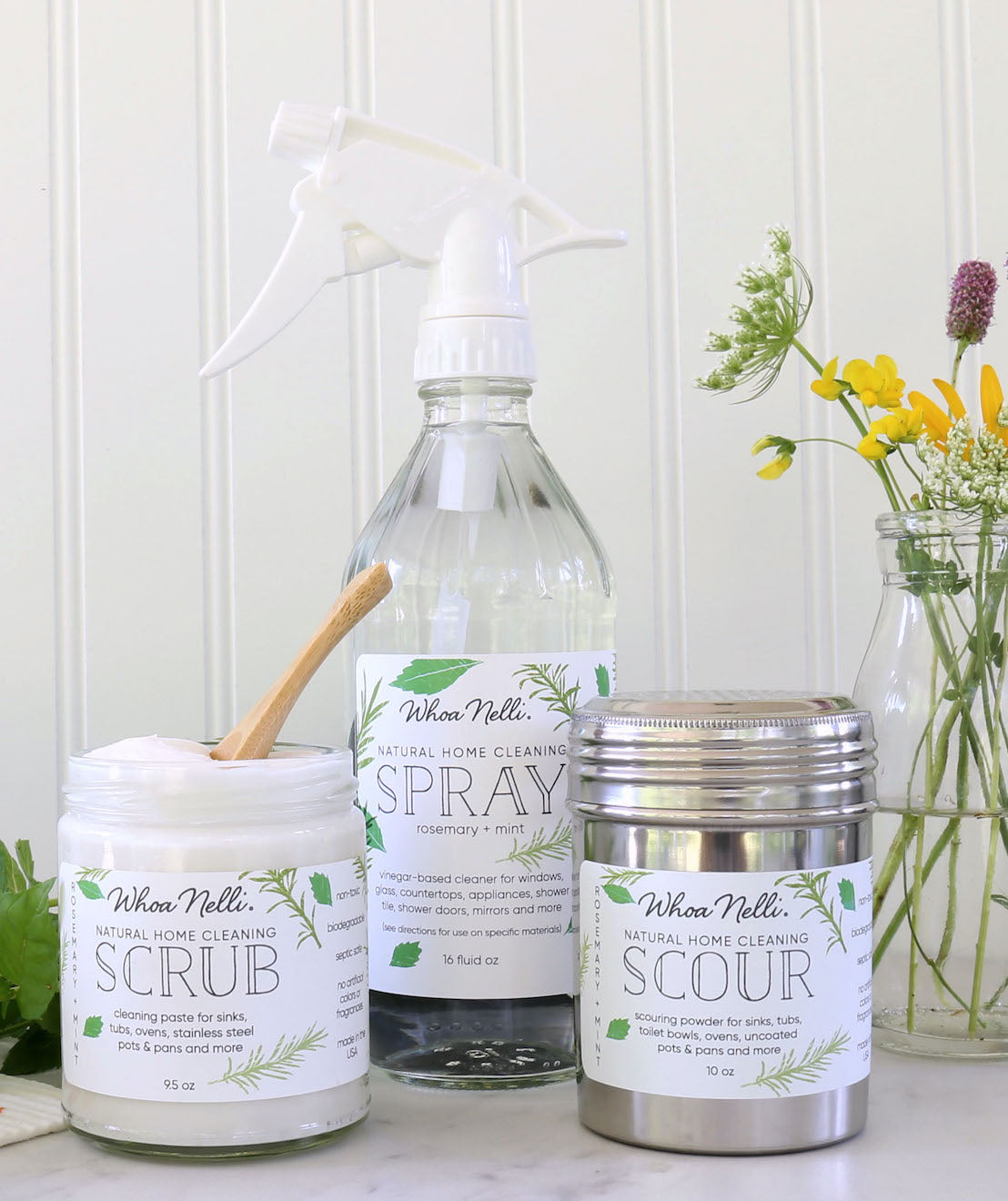 natural cleaning products in plastic-free containers