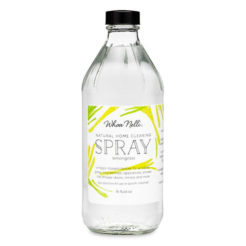 Natural vinegar surface cleaning spray refill in a glass bottle