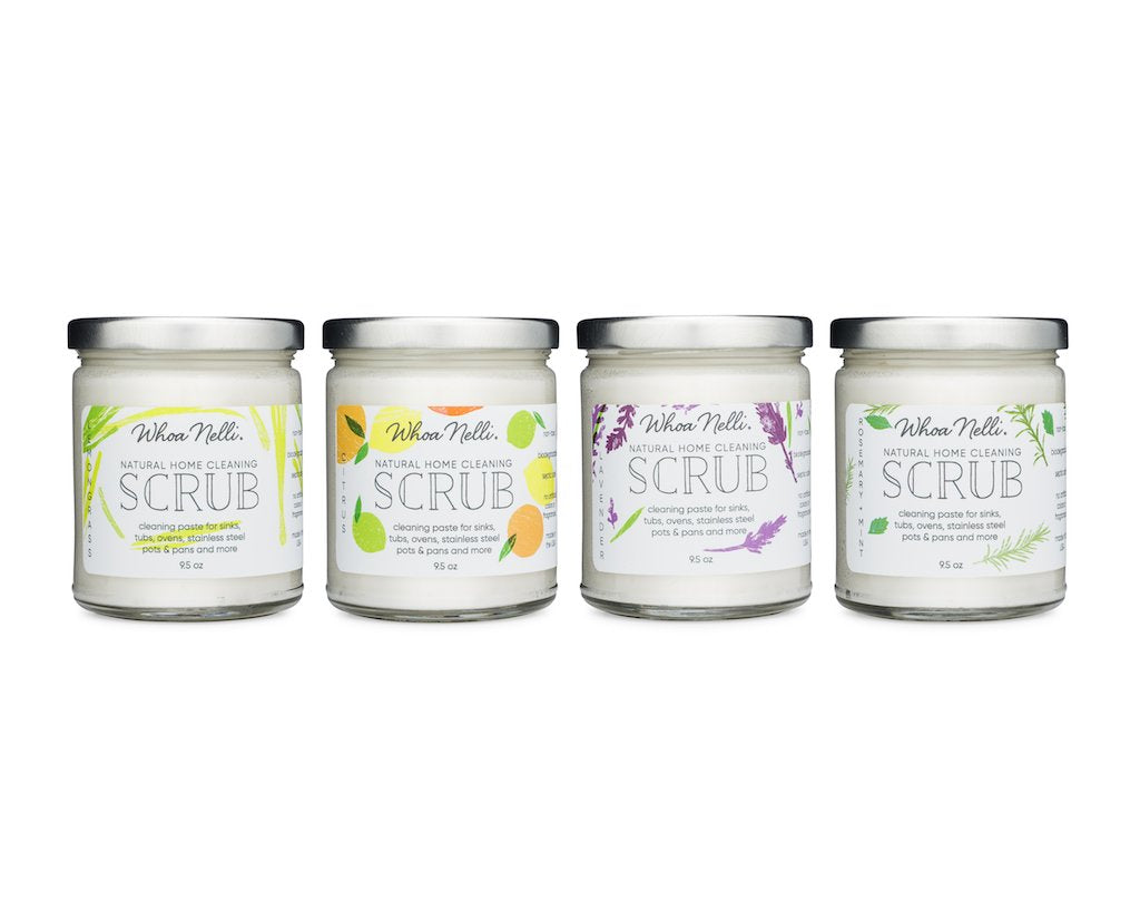 Scented with essential oils our non-toxic cleaning scrub is great for sinks, tubs and more