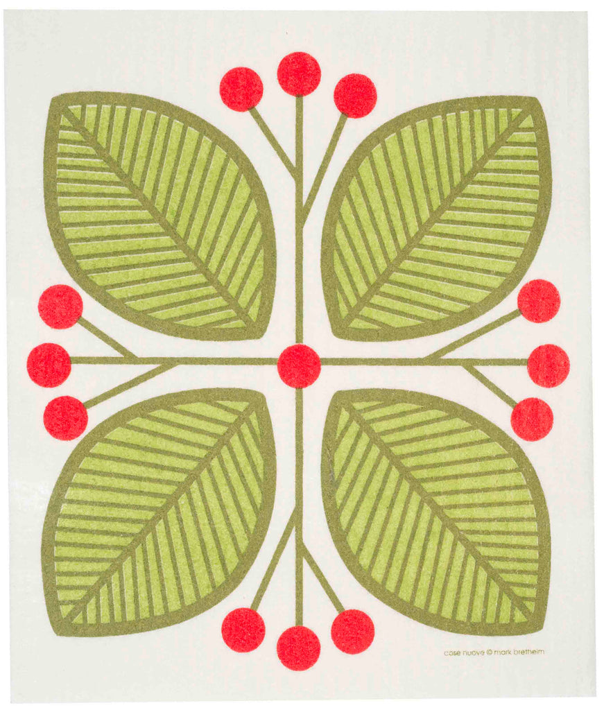 Swedish dishcloths with a green leaves and berries pattern