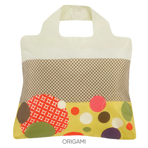 Reusable bags with a colorful pattern that is inspired by origami
