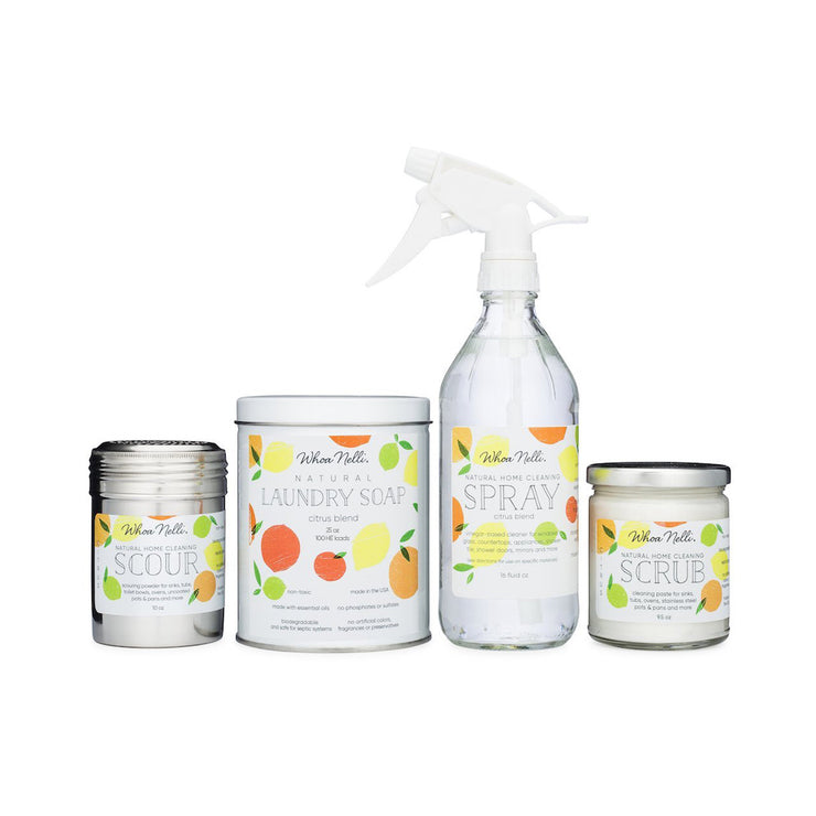 green cleaning products bundle including natural laundry detergent, natural window cleaner, sustainable scour powder and green sink cleaner