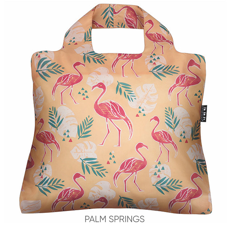 Eco-friendly reusable shopping bag with pink flamingos