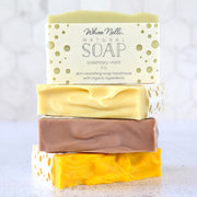 natural handmade soap in rosemary-mint, lemongrass, lavender and citrus